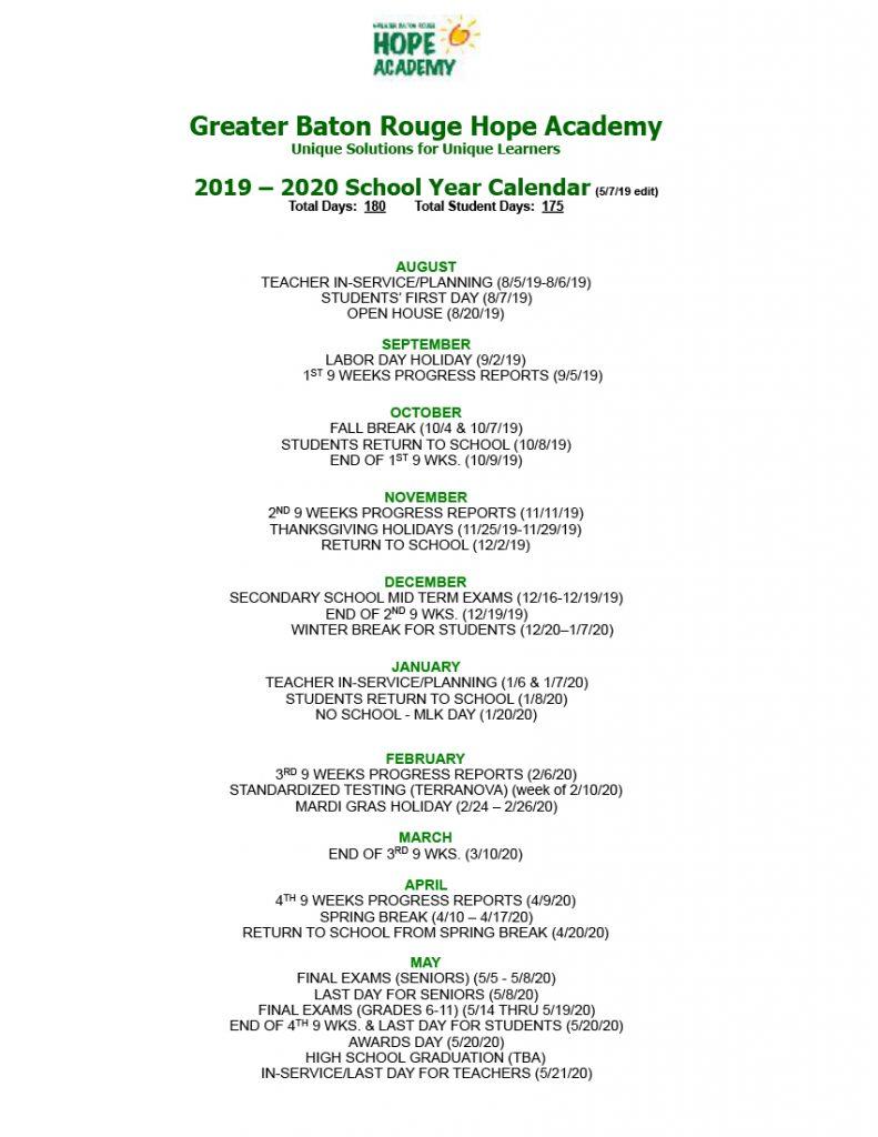 2019-2020 School Year Calendar - Greater Baton Rouge Hope
