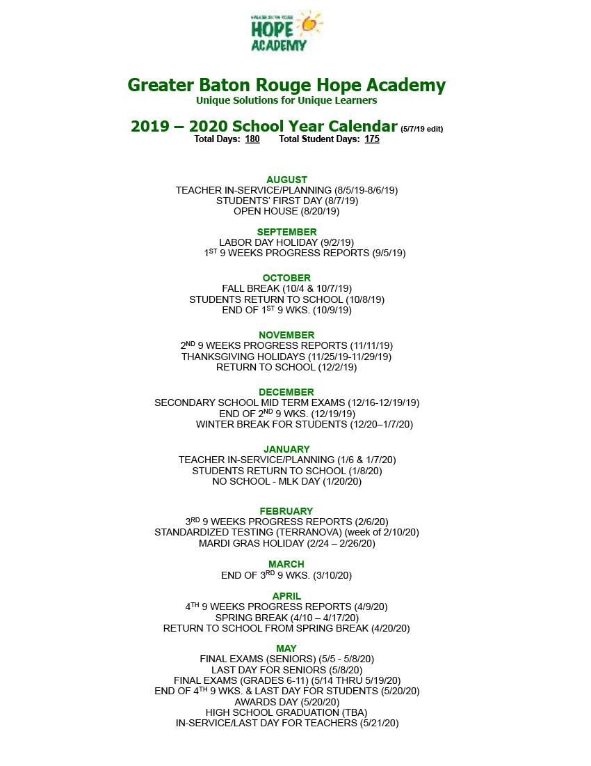 Ebr School Calendar 2020 2019 2020 School Year Calendar   Greater Baton Rouge Hope Academy